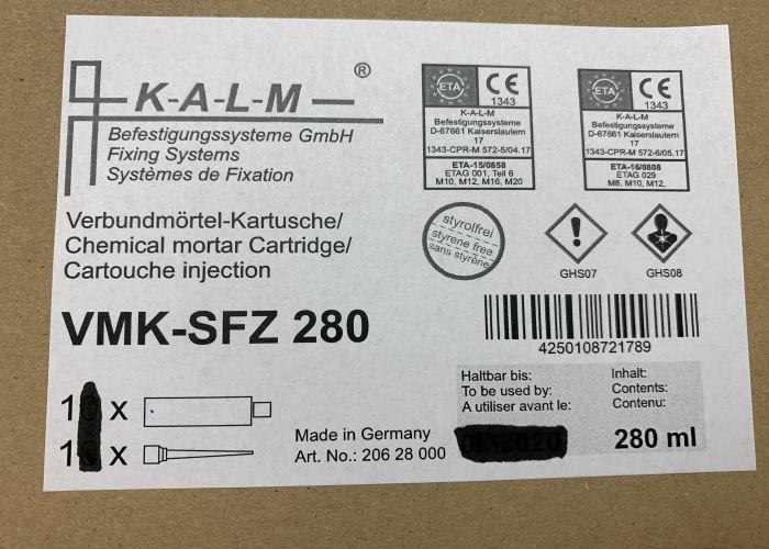 KALM Injektionsmörtel, Verbundmörtel VMK-SFZ 280  280ml +  1 Statikmischer
