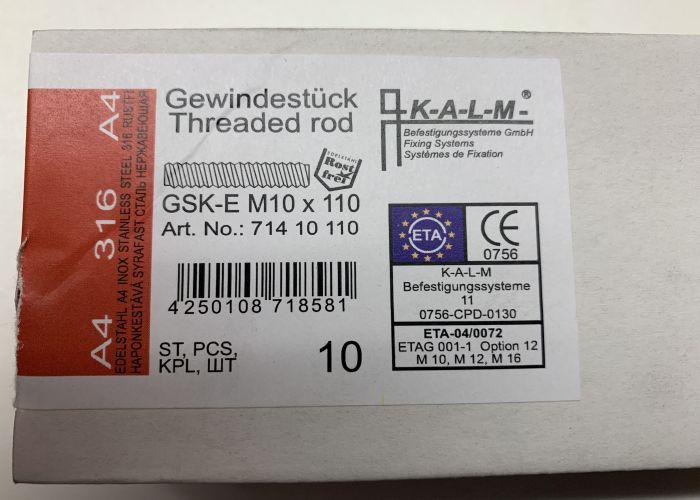 KALM Verbundanker Ankerstangen Gewindestücke M10 x 110 A4 GSK-E VPE 10 Stück